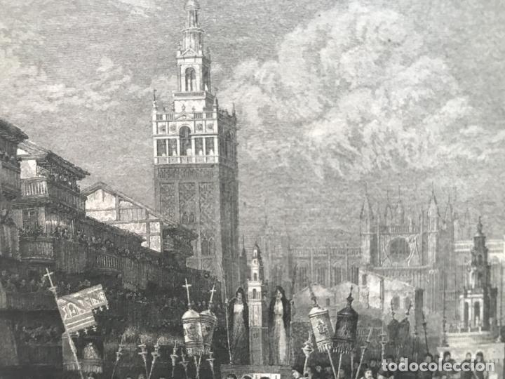 Arte: Vista de La Giralda y procesión religiosa (Sevilla, España), hacia 1850. Ins. Hild. - Foto 4 - 261789140