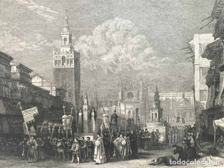 VISTA DE LA GIRALDA Y PROCESIÓN RELIGIOSA (SEVILLA, ESPAÑA), HACIA 1850. INS. HILD. (Arte - Grabados - Modernos siglo XIX)