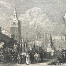 Arte: VISTA DE LA GIRALDA Y PROCESIÓN RELIGIOSA (SEVILLA, ESPAÑA), HACIA 1850. INS. HILD.. Lote 261789140