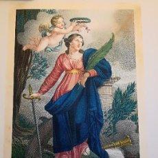 Arte: STE CATHERINE VIERGE ET MARTIRE. MELLE HUBERT DEL. , BLAISOT SCULP. A PARIS CHEZ BULLA CA. 1825. Lote 261992065