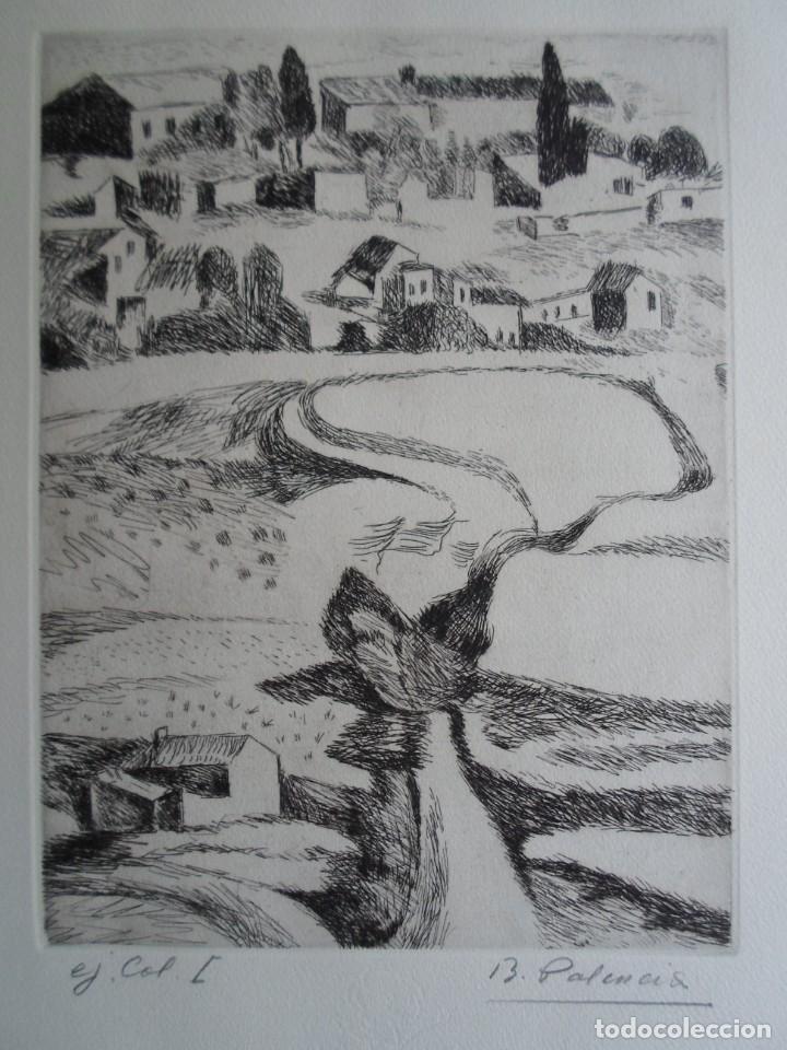 Arte: Benjamín Palencia (Albacete 1894-Mad80) grabado 1956 en 50x34 poema firma Luis Rosales (Granada10) - Foto 4 - 262123875