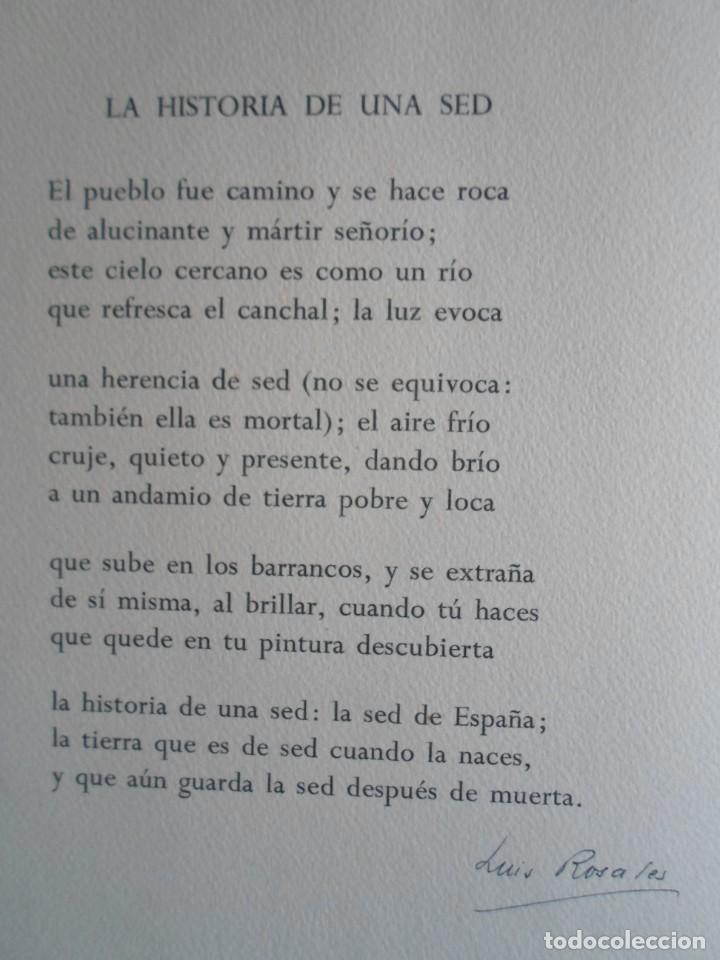 Arte: Benjamín Palencia (Albacete 1894-Mad80) grabado 1956 en 50x34 poema firma Luis Rosales (Granada10) - Foto 7 - 262123875