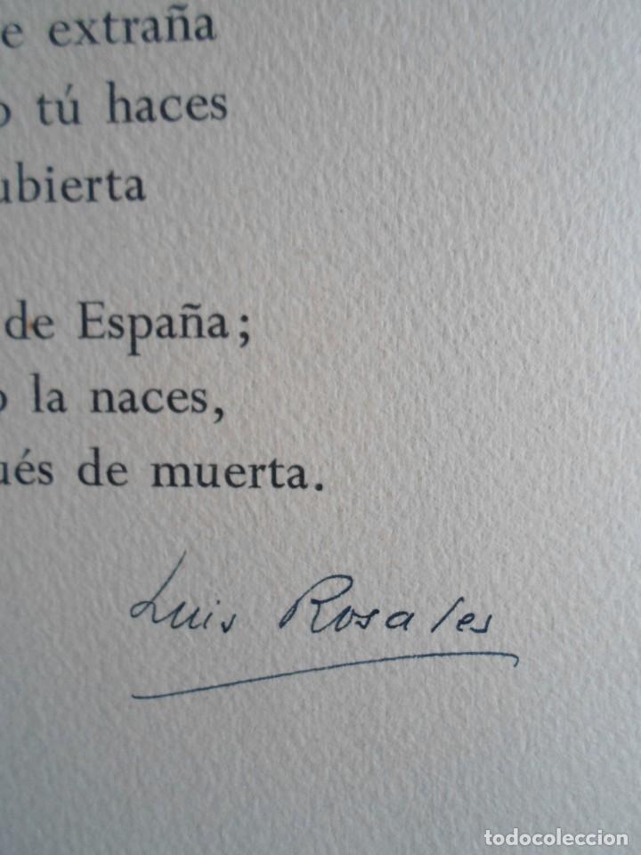 Arte: Benjamín Palencia (Albacete 1894-Mad80) grabado 1956 en 50x34 poema firma Luis Rosales (Granada10) - Foto 8 - 262123875