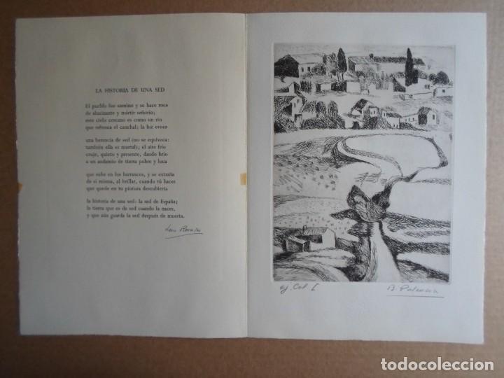 Arte: Benjamín Palencia (Albacete 1894-Mad80) grabado 1956 en 50x34 poema firma Luis Rosales (Granada10) - Foto 9 - 262123875