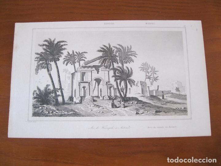 Arte: Vista del Arco del Triunfo en Antinoe (Egipto), circa.1850. Lemaitre - Foto 2 - 262138305
