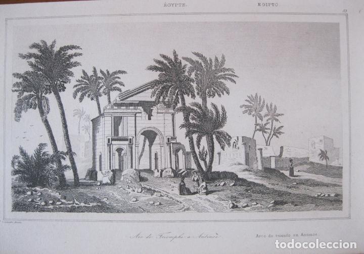 VISTA DEL ARCO DEL TRIUNFO EN ANTINOE (EGIPTO), CIRCA.1850. LEMAITRE (Arte - Grabados - Modernos siglo XIX)