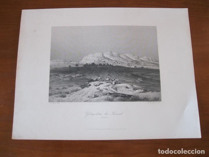 Arte: Vista de la cordillera en Kenneh (Egipto), 1850. Geyer/Payne - Foto 2 - 262138365