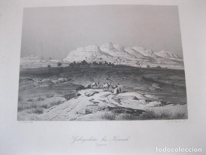 VISTA DE LA CORDILLERA EN KENNEH (EGIPTO), 1850. GEYER/PAYNE (Arte - Grabados - Modernos siglo XIX)