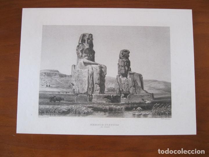 Arte: Vista de los colosos de Memnon, cerca de Luxor (Egipto) 1850. Inst. Hildburghausen - Foto 2 - 262138485