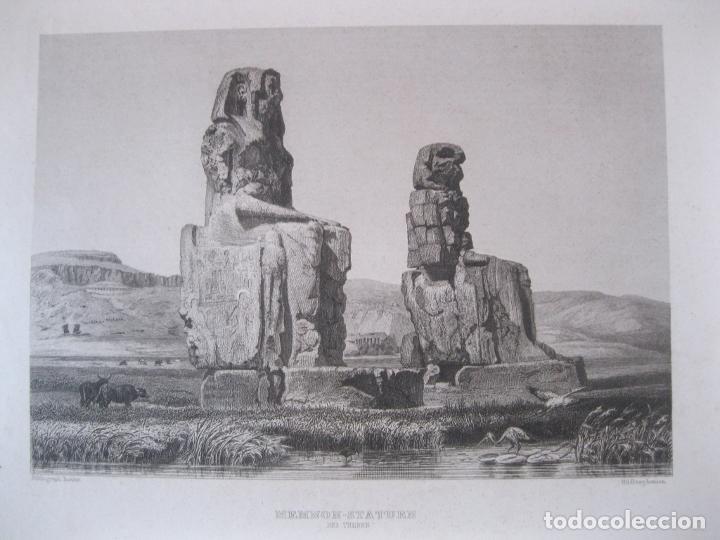 VISTA DE LOS COLOSOS DE MEMNON, CERCA DE LUXOR (EGIPTO) 1850. INST. HILDBURGHAUSEN (Arte - Grabados - Modernos siglo XIX)
