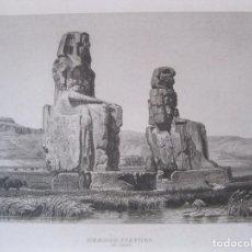 Arte: VISTA DE LOS COLOSOS DE MEMNON, CERCA DE LUXOR (EGIPTO) 1850. INST. HILDBURGHAUSEN. Lote 262138485
