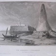 Arte: VISTA DE LA PIRÁMIDE DE TEBAS (EGIPTO), 1850. INST. HILDBURGHAUSEN. Lote 262138920