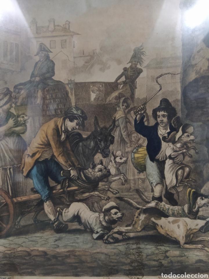 GRABADO FRANCÉS - LA DANSE DES CHIENS EN DESORDE (Arte - Grabados - Modernos siglo XIX)