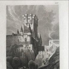 Arte: VISTA DEL ALCÁZAR DE SEGOVIA (ESPAÑA), HACIA 1845. I.G. MARTINI. Lote 262356105