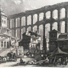 Arte: VISTA PANORÁMICA DEL ACUEDUCTO ROMANO DE SEGOVIA (ESPAÑA), CA. 1850. B. METZEROTH. Lote 262357610