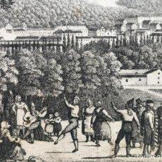 Arte: VISTA DEL PALACIO DE LA GRANJA DE SAN ILDEFONSO Y BAILE (SEGOVIA, ESPAÑA), HACIA 1830. ANÓNIMO. Lote 262365285