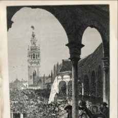 Arte: VISTA DE LA PLAZA DE TOROS Y DE LA GIRALDA DE SEVILLA (ANDALUCÍA, ESPAÑA), HACIA 1850. ANÓNIMO. Lote 262372045