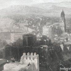 Arte: VISTA DE MÁLAGA ( ANDALUCÍA, ESPAÑA), 1835. ADOLPH DWORZACK. Lote 262399060