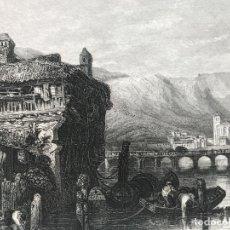 Arte: VISTA DE LA CIUDAD DE IRÚN (GUIPUZCOA, ESPAÑA), CA.1830. STANFIELD Y METZECHT. Lote 262400975