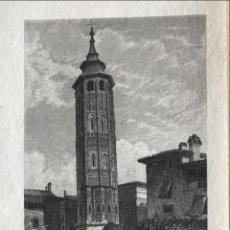 Arte: VISTA DE LA TORRE NUEVA DE ZARAGOZA, CIRCA 1850. J. POPPEL. Lote 262432555