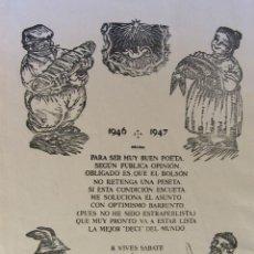 Arte: RICARD VIVES I SABATÉ. NADALA 1946 - 1947. XILOGRAFIA. 25 X 17,5 CM. FIRMADA Y NUMERADA. Lote 262563630