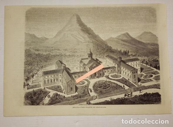 ALCOY. NUEVO HOSPITAL EN CONSTRUCCIÓN (Arte - Grabados - Modernos siglo XIX)