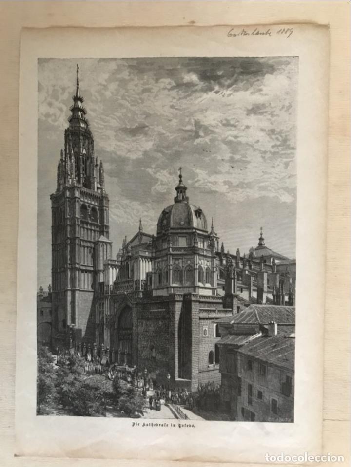 Arte: Vista de la catedral y la Puerta del Sol de Toledo (España), 1889 - Foto 2 - 263016710