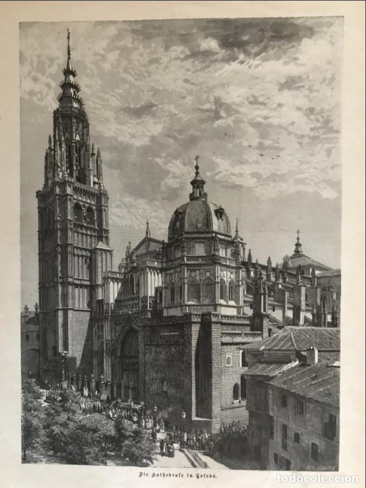 Arte: Vista de la catedral y la Puerta del Sol de Toledo (España), 1889 - Foto 3 - 263016710