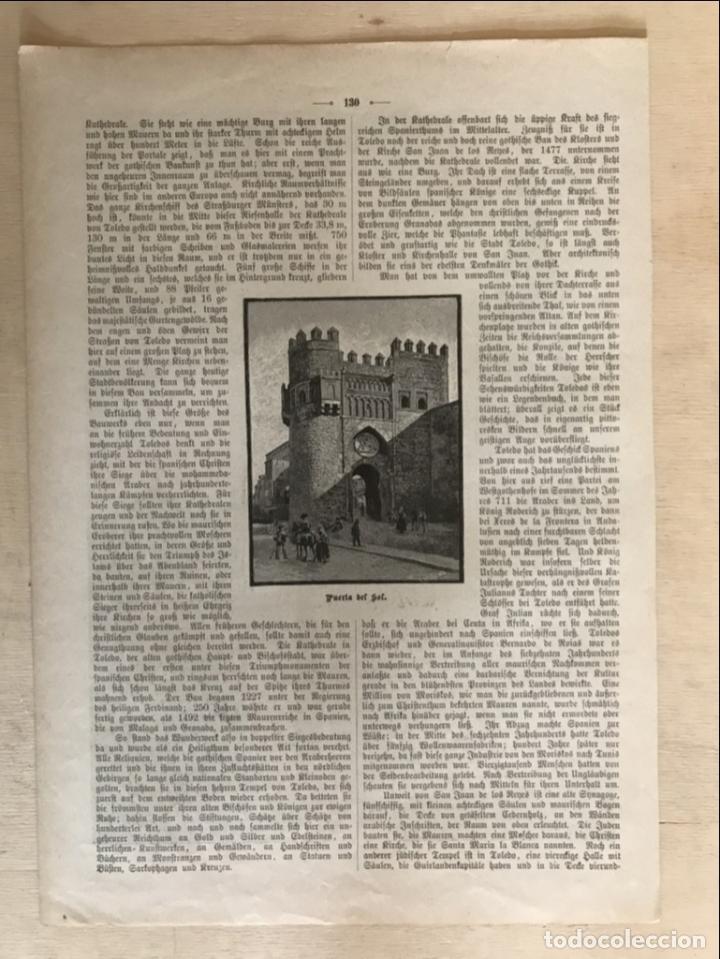 Arte: Vista de la catedral y la Puerta del Sol de Toledo (España), 1889 - Foto 4 - 263016710