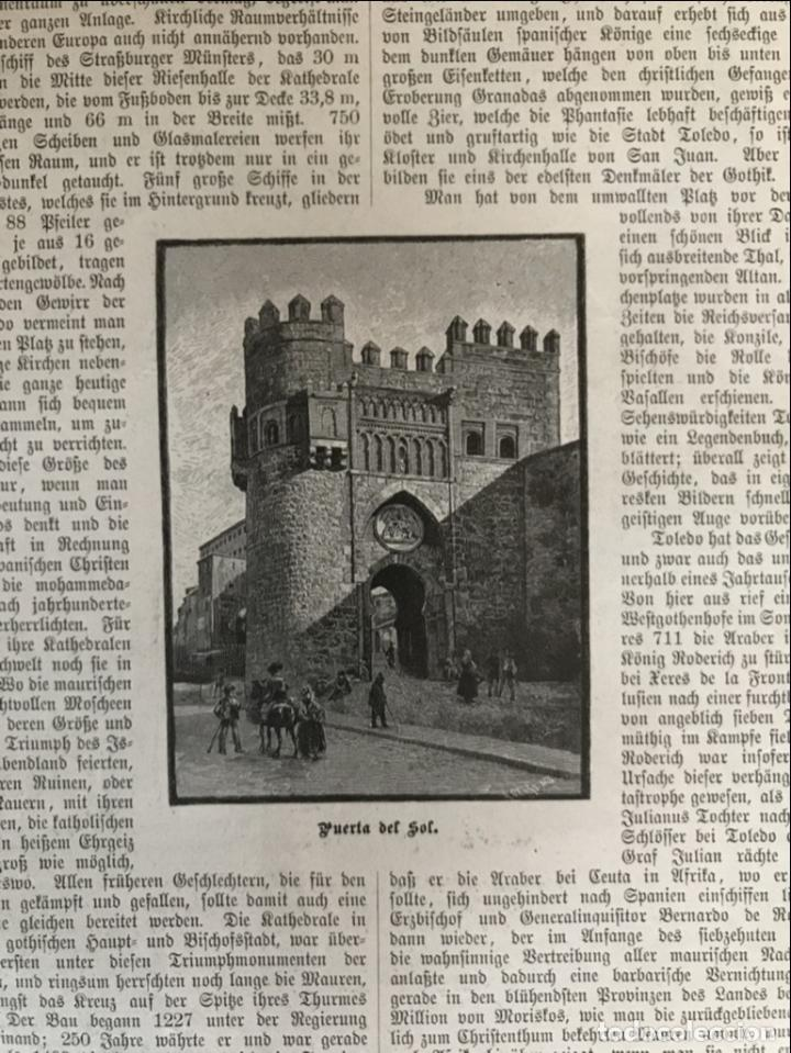 Arte: Vista de la catedral y la Puerta del Sol de Toledo (España), 1889 - Foto 5 - 263016710