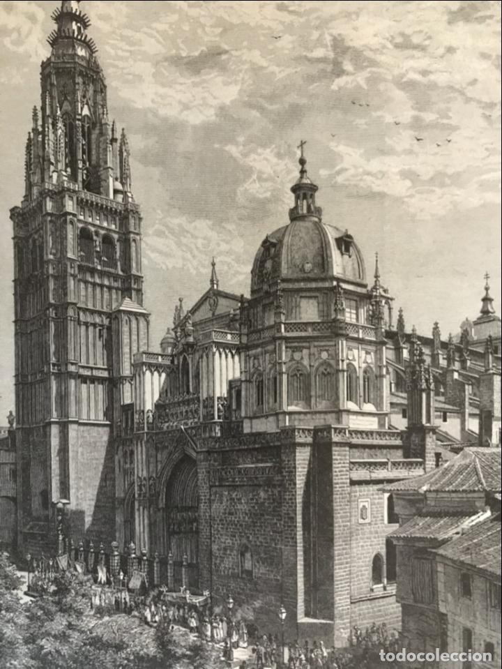 VISTA DE LA CATEDRAL Y LA PUERTA DEL SOL DE TOLEDO (ESPAÑA), 1889 (Arte - Grabados - Modernos siglo XIX)