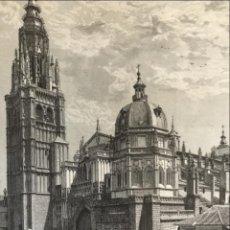 Arte: VISTA DE LA CATEDRAL Y LA PUERTA DEL SOL DE TOLEDO (ESPAÑA), 1889. Lote 263016710