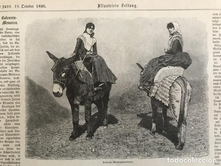 Arte: Mujeres de la isla de Menorca (Baleares, España), 1890. R. Brendamour - Foto 3 - 263018490