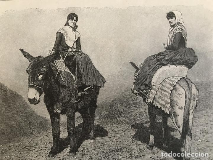 MUJERES DE LA ISLA DE MENORCA (BALEARES, ESPAÑA), 1890. R. BRENDAMOUR (Arte - Grabados - Modernos siglo XIX)