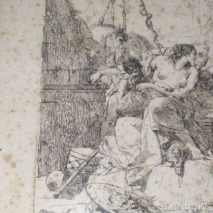 Arte: NIMFA Y HOMBRE. GIANBATTISTA TIÉPOLO. AGUAFUERTE. ITALIA. SIGLO XVIII - Foto 8 - 263242875
