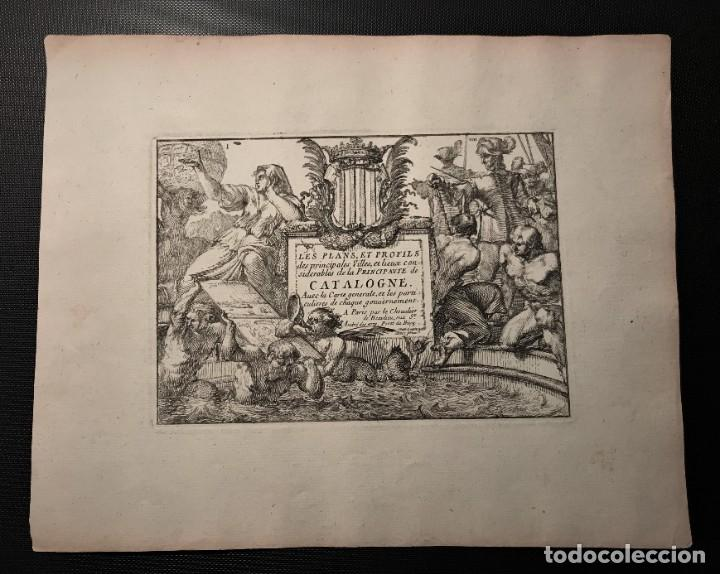 INTERESANTE LOTE DE 5 GRABADOS , TITULO PLANS ET PRO.. CATALOGNE , PERPIGNAN, ROSAS DE ROUX... (Arte - Grabados - Antiguos hasta el siglo XVIII)
