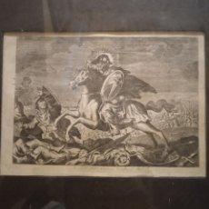 Arte: ANTIGUO GRABADO ORIGINAL SIGLO XVIII SANTIAGO A CABALLO. Lote 263590535