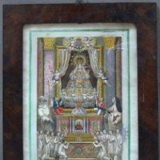 Arte: GRABADO COLOREADO DE NUESTRA SEÑORA DE LA MERCED, PATRONA DE BARCELONA, 1804, CON MARCO DE ÉPOCA.. Lote 263680375