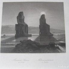 Arte: VISTA DE LOS COLOSOS DE MEMNON EGIPTO, ÁFRICA), CA. 1850. W. FRENCH/PAYNE. Lote 263732655