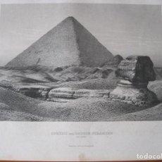 Arte: VISTA DE LA GRAN ESFINGE Y PIRÁMIDE DE GIZA (EL CAIRO, EGIPTO), CIRCA 1850. INST. HILDBURGHAUSEN. Lote 263758600