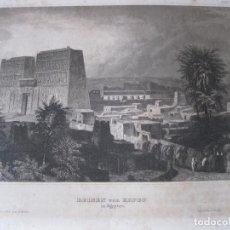 Arte: VISTA DE LAS RUINAS DEL TEMPLO DE EDFU (EGIPTO, ÁFRICA), CA. 1850. INSTITUTO HILDBURGHAUSEN. Lote 263760445