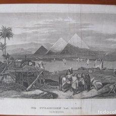 Arte: VISTA DE LAS PIRÁMIDES DE GIZA (EL CAIRO, EGIPTO), 1850. GRÜNEWALD/ RÜPPELL. Lote 263761395