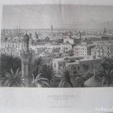 Arte: VISTA DE LA CIUDAD DE ALEJANDRÍA (EGIPTO), 1850. INST. HILDBURGHAUSEN. Lote 263761780