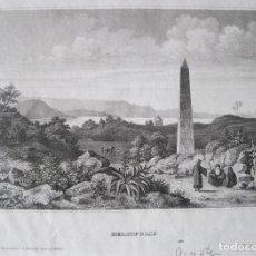 Arte: VISTA DEL OBELISCO DE SESOTRIS I, (HELIOPOLIS, EL CAIRO, EGIPTO), CA. 1850. INST. HILDBURGHAUSEN. Lote 263762290