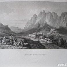 Arte: VISTA DE LA MONTAÑA Y EL MONASTERIO DE SINAI (EGIPTO), 1850. INST. HILDBURGHAUSEN. Lote 263764085