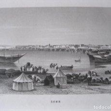 Arte: VISTA DEL CANAL DE SUEZ (EGIPTO, ÁFRICA), CIRCA 1850. INST. HILDBURGHAUSEN. Lote 263765040