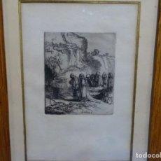 Arte: GRABADO A LA PUNTA SECA DE REMBRANDT. EL ENTIERRO.. Lote 263799755