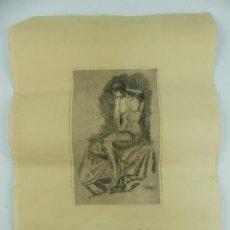 Arte: ANTIGUO GRABADO FIRMADO Y DEDICADO OBJETO DE COLECCION. Lote 264146184