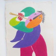 Arte: GRABADO MATERICO JUAN RIPOLLES, FLAUTISTA- SERIE MUSICS. FIRMADO Y NUMERADO. Lote 264293068