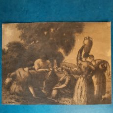 """Arte: J. COLOM"""" CAMPESINOS EN LA FUENTE"""" GRABADO. Lote 264427064"""